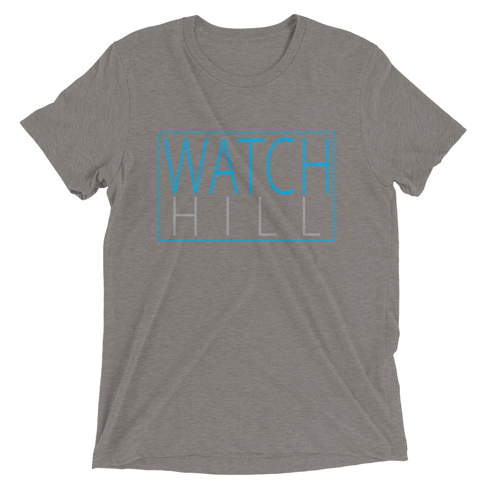 Watch Hill Rectangular Logo Premium Unisex Short Sleeve T-shirt (Cyan/Grey) - Watchill'n