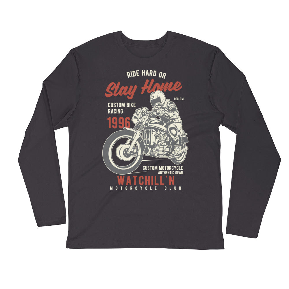 Watchill'n 'Ride Hard' Premium Long Sleeve Fitted Crew (Rust/Tan) - Watch Hill RI t-shirts with vintage surfing and motorcycle designs.