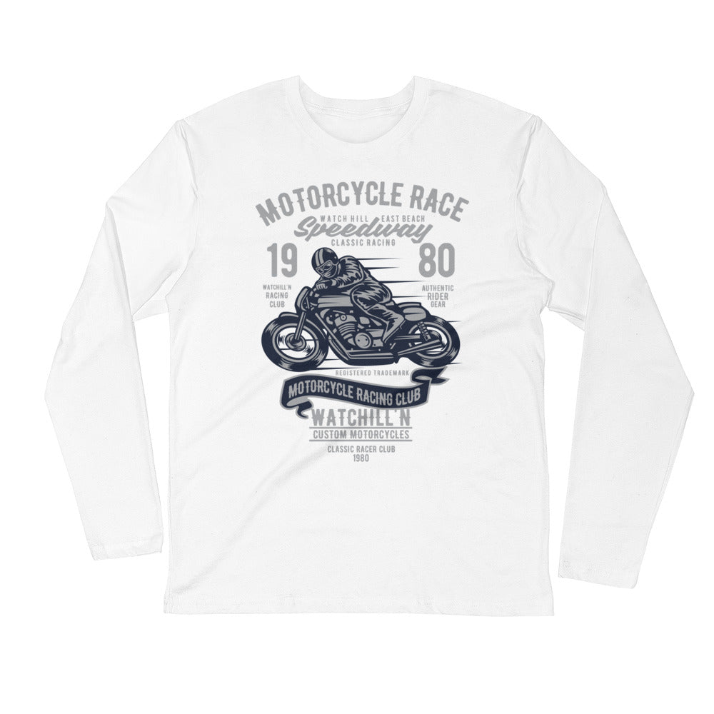 Watchill'n 'Speedway' Premium Long Sleeve Fitted Crew (Grey/Navy) - Watch Hill RI t-shirts with vintage surfing and motorcycle designs.