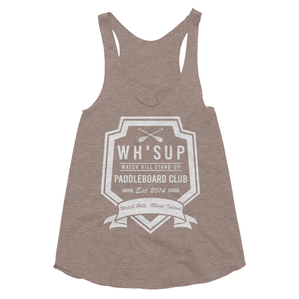 Watchill'n 'Paddle Board Club #2' - Women's Tri-Blend Racerback Tank (Grey) - Watch Hill RI t-shirts with vintage surfing and motorcycle designs.