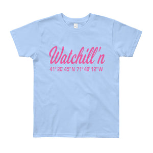 Watchill'n 'Coordinates' Logo - Youth Short Sleeve T-Shirt (Pink) - Watch Hill RI t-shirts with vintage surfing and motorcycle designs.