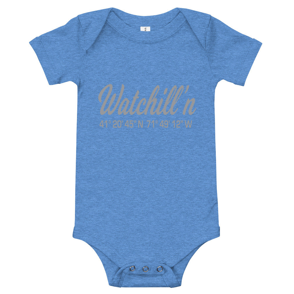 Watchill'n 'Coordinates' - Baby Jersey Short Sleeve One Piece (Grey) - Watch Hill RI t-shirts with vintage surfing and motorcycle designs.
