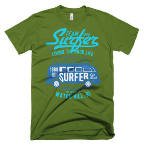 Watchill'n 'Team Surfer' - Short-Sleeve T-Shirt (Turquoise) - Watch Hill RI t-shirts with vintage surfing and motorcycle designs.
