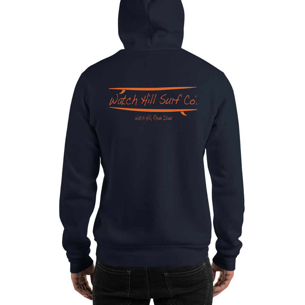 Watch Hill Surf Co. 'Parallel Boards' Unisex Hoodie - (Orange) - Watch Hill RI t-shirts with vintage surfing and motorcycle designs.