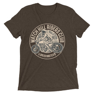 Watchill'n 'Riders Club' Unisex Short sleeve t-shirt (Tan) - Watch Hill RI t-shirts with vintage surfing and motorcycle designs.