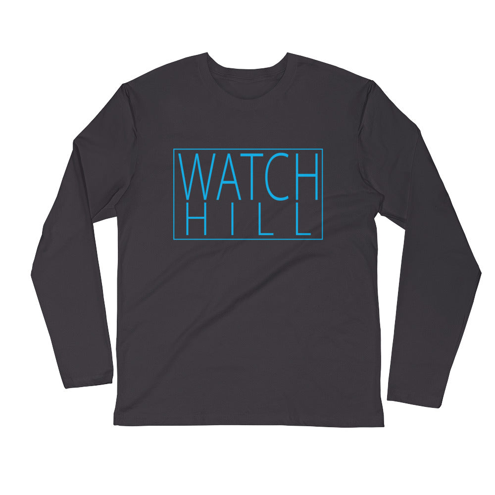 Watch Hill Rectangular Logo Premium Long Sleeve Fitted Crew (Cyan) - Watchill'n