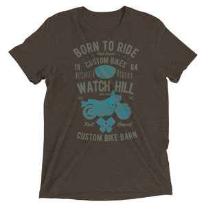 Watchill'n 'Born To Ride' Unisex Short sleeve t-shirt (Olive/Blue) - Watch Hill RI t-shirts with vintage surfing and motorcycle designs.