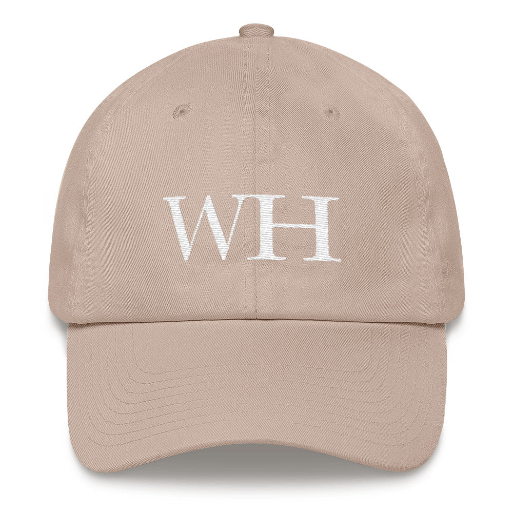 Watch Hill 'WH' Logo Hat (White) - Watch Hill RI t-shirts with vintage surfing and motorcycle designs.