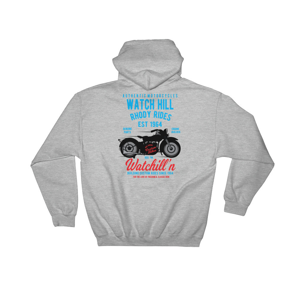 Watchill'n 'Rhody Rides' - Hooded Sweatshirt (Blue/Red) - Watch Hill RI t-shirts with vintage surfing and motorcycle designs.