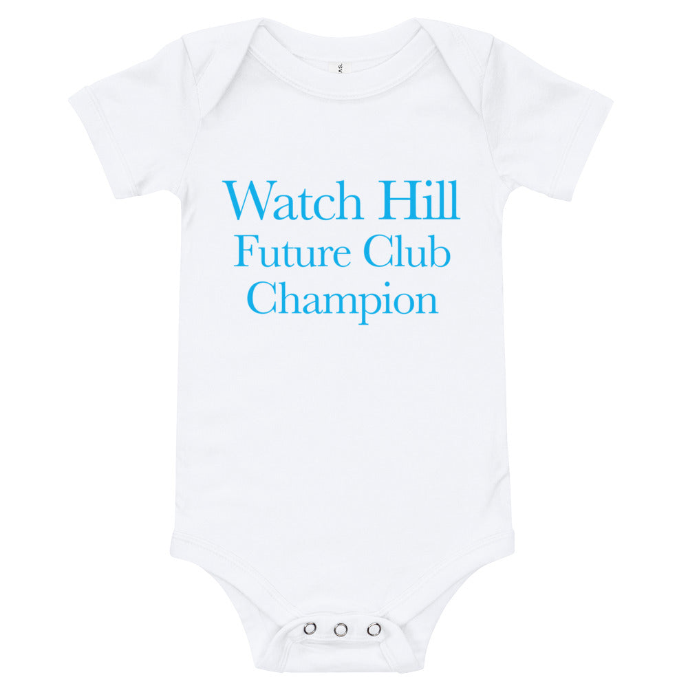 Watch Hill 'Club Champion' - Baby Jersey Short Sleeve One Piece (Cyan) - Watch Hill RI t-shirts with vintage surfing and motorcycle designs.