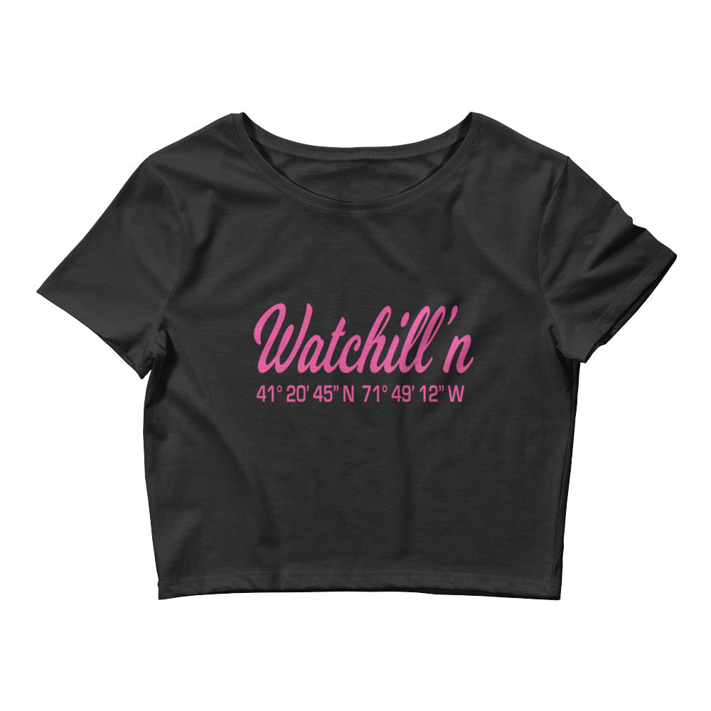 Watchill'n 'Coordinates' Logo - Women's Crop Tee (Pink) - Watch Hill RI t-shirts with vintage surfing and motorcycle designs.