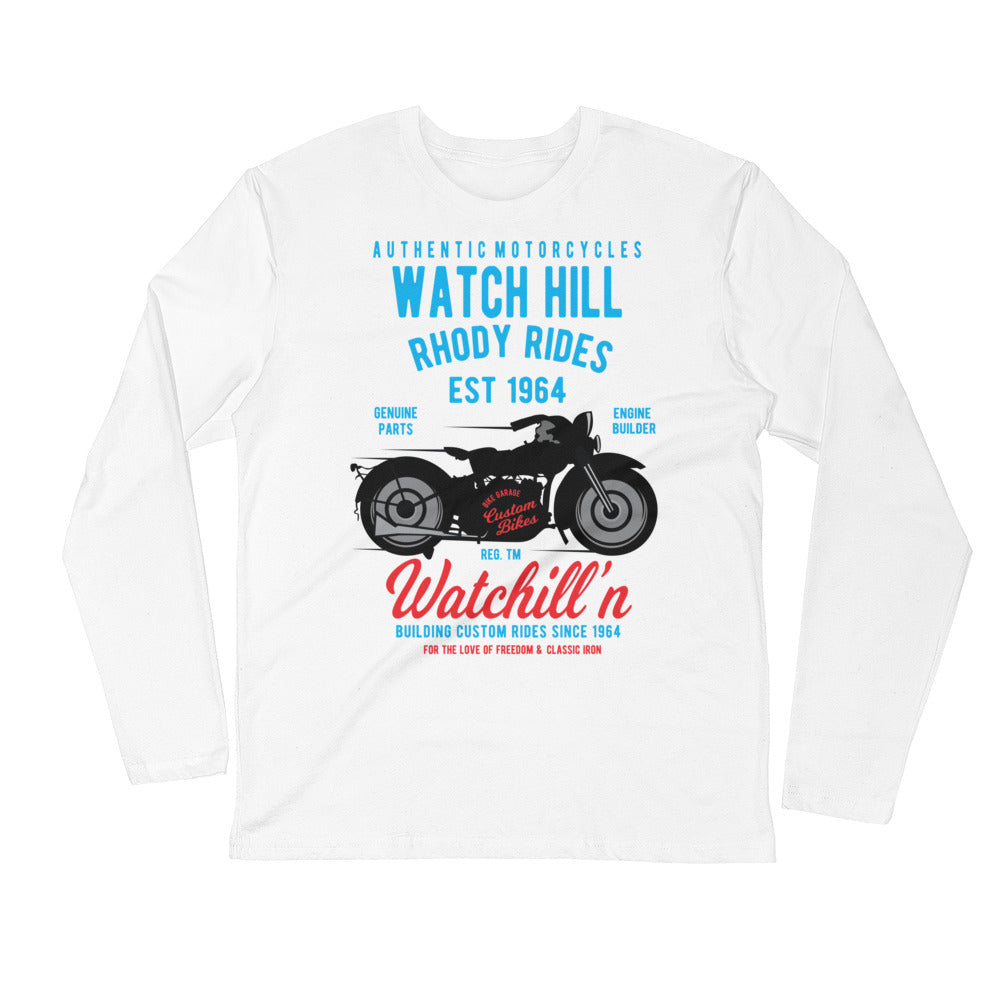 Watchill'n 'Rhody Rides' Premium Long Sleeve Fitted Crew (Blue/Red) - Watchill'n