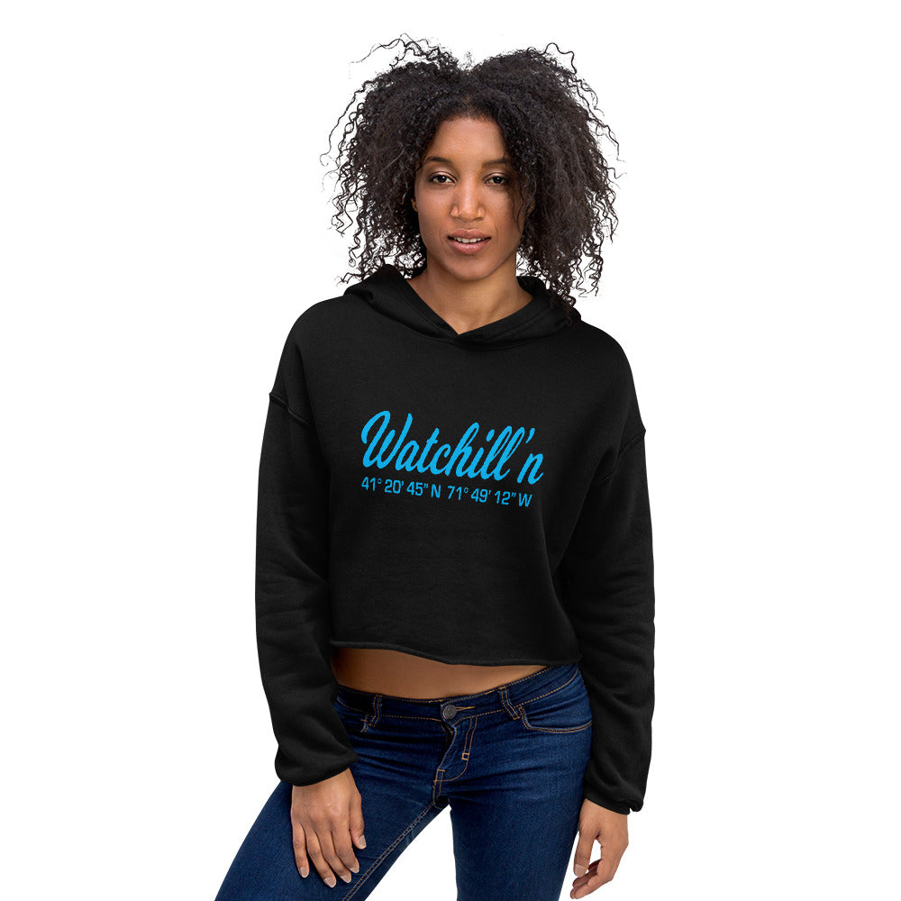 Watchill'n 'Coordinates' Logo - Women's Cropped Fleece Hoodie (Cyan) - Watch Hill RI t-shirts with vintage surfing and motorcycle designs.
