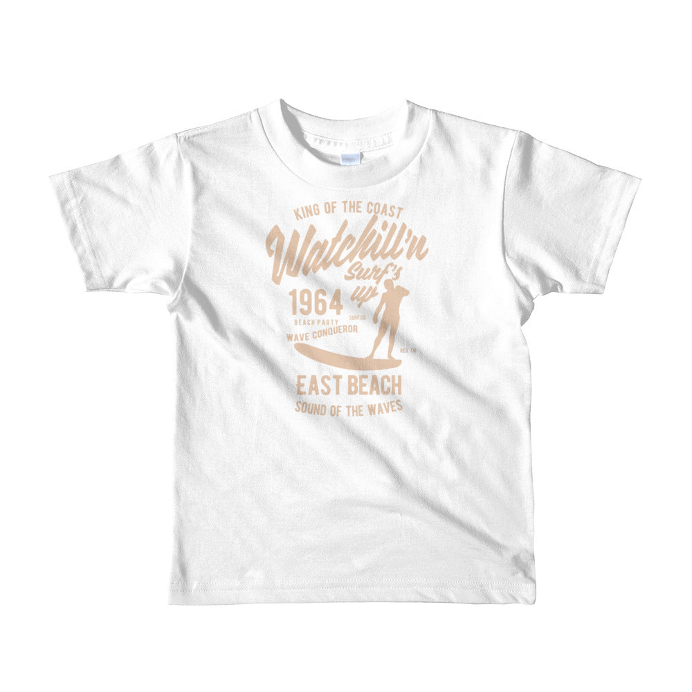 Watchill'n 'Surf's Up' -  Short sleeve kids t-shirt (Khaki) - Watch Hill RI t-shirts with vintage surfing and motorcycle designs.
