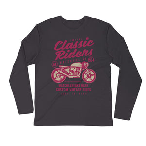 Watchill'n 'Coastal Classic' Premium Long Sleeve Fitted Crew (Raspberry/Creme) - Watchill'n