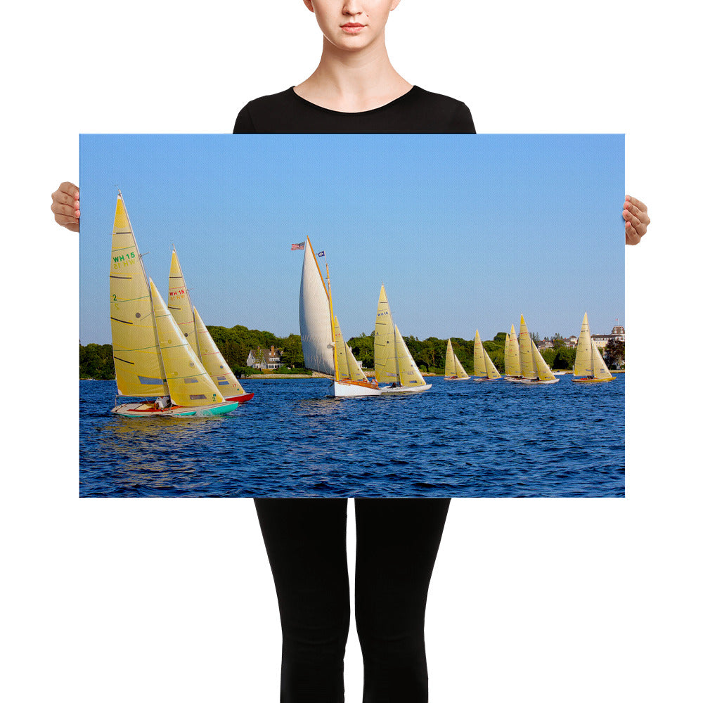 "WH-15s Racing, ""Cat on the Course"", Canvas Prints - Watch Hill RI t-shirts with vintage surfing and motorcycle designs."