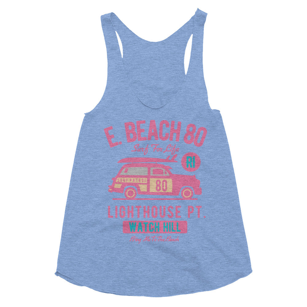 Watchill'n 'Beach Buggy' - Women's Tri-Blend Racerback Tank (Pink) - Watch Hill RI t-shirts with vintage surfing and motorcycle designs.