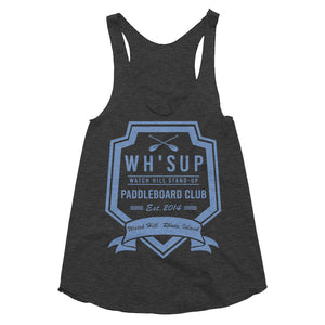 Watchill'n 'Paddle Board Club #2' - Women's Tri-Blend Racerback Tank (Blue) - Watch Hill RI t-shirts with vintage surfing and motorcycle designs.