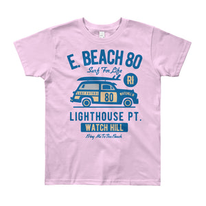 Watchill'n 'Beach Buggy' - Youth Short Sleeve T-Shirt (Blue) - Watch Hill RI t-shirts with vintage surfing and motorcycle designs.