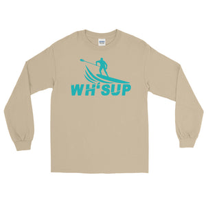 Watchill'n 'WH-SUP Paddle Boarding' - Long Sleeve T-Shirt (Turquoise) - Watch Hill RI t-shirts with vintage surfing and motorcycle designs.
