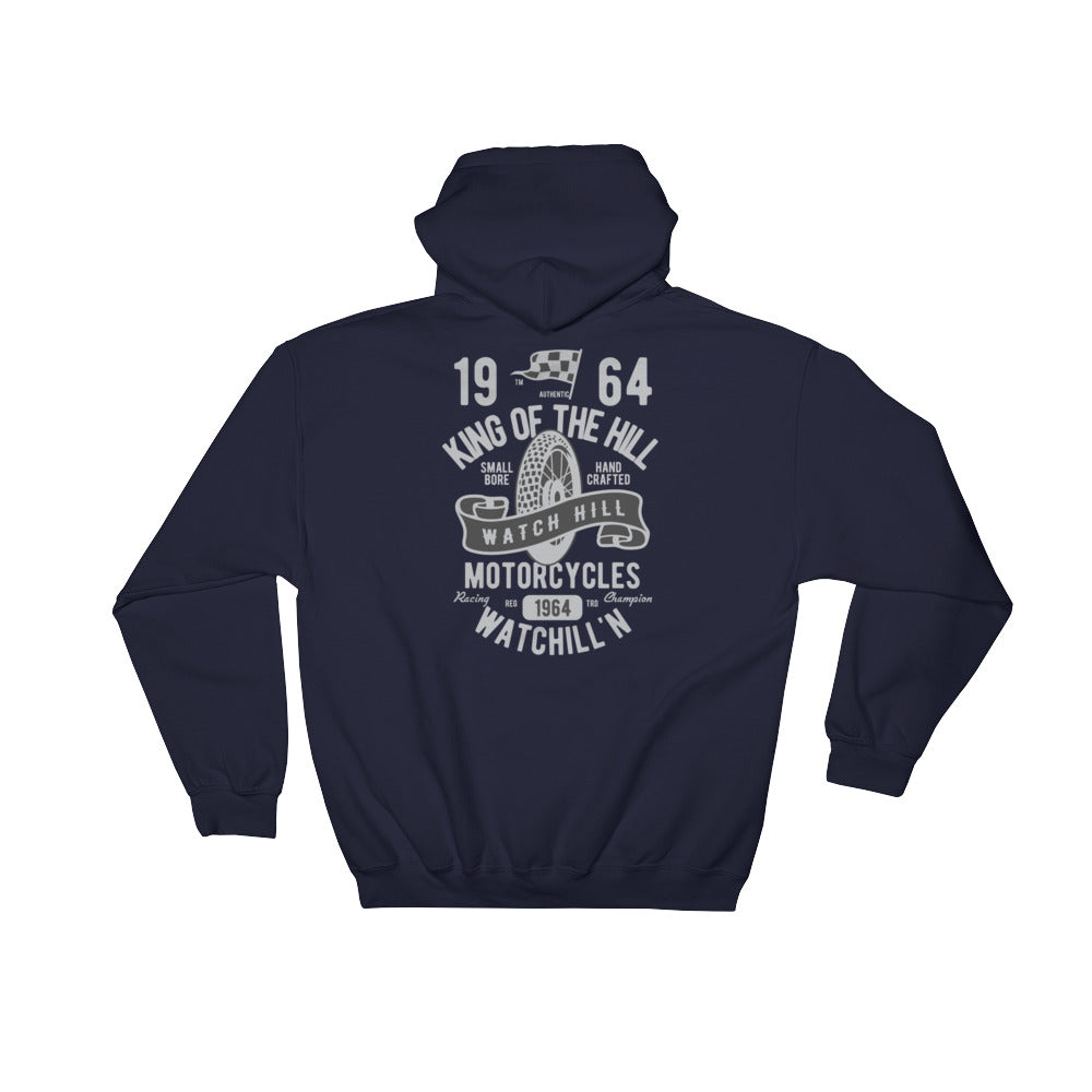 Watchill'n 'King of the Hill' - Hooded Sweatshirt (Grey) - Watch Hill RI t-shirts with vintage surfing and motorcycle designs.