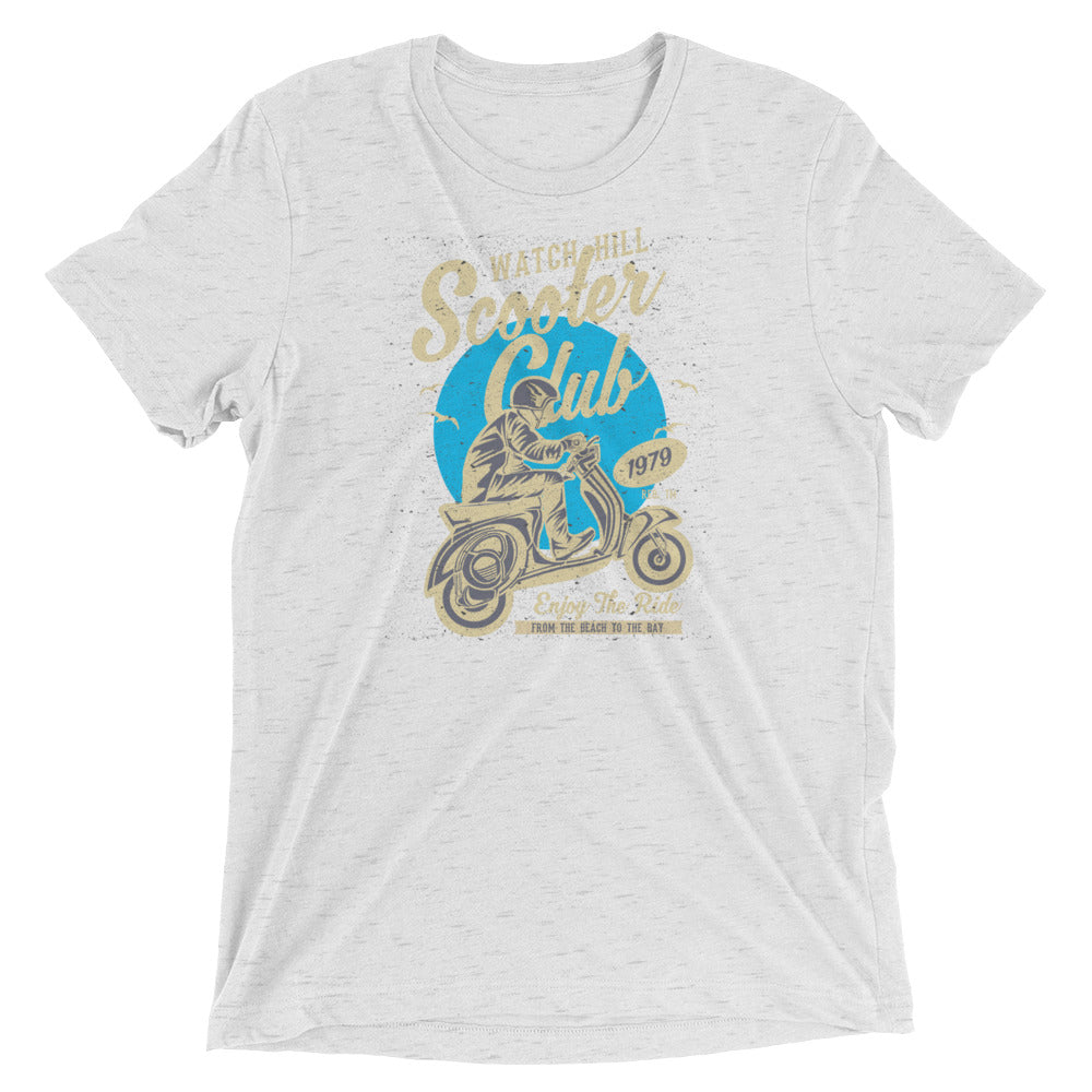 Watchill'n 'Scooter Club' Unisex Short Sleeve t-shirt (Creme/Cyan) - Watch Hill RI t-shirts with vintage surfing and motorcycle designs.
