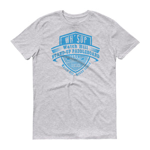 Watchill'n 'Paddle Board Club' - Short-Sleeve Unisex T-Shirt (Blue) - Watch Hill RI t-shirts with vintage surfing and motorcycle designs.