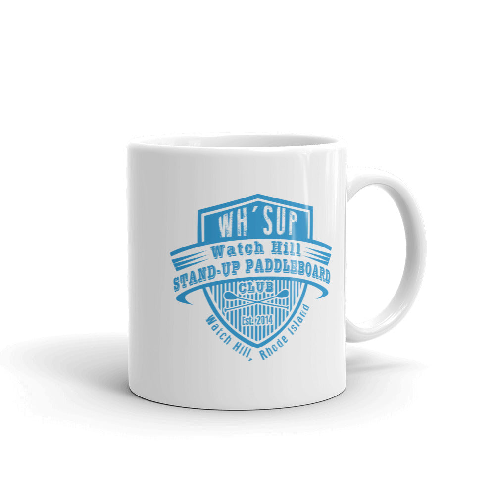 Watch Hill 'Paddle Board Club' Ceramic Mug - (Lt. Blue) - Watch Hill RI t-shirts with vintage surfing and motorcycle designs.