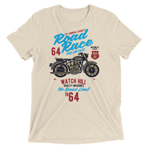 Watchill'n 'Road Race' Unisex Short sleeve t-shirt (Blue/Red) - Watch Hill RI t-shirts with vintage surfing and motorcycle designs.