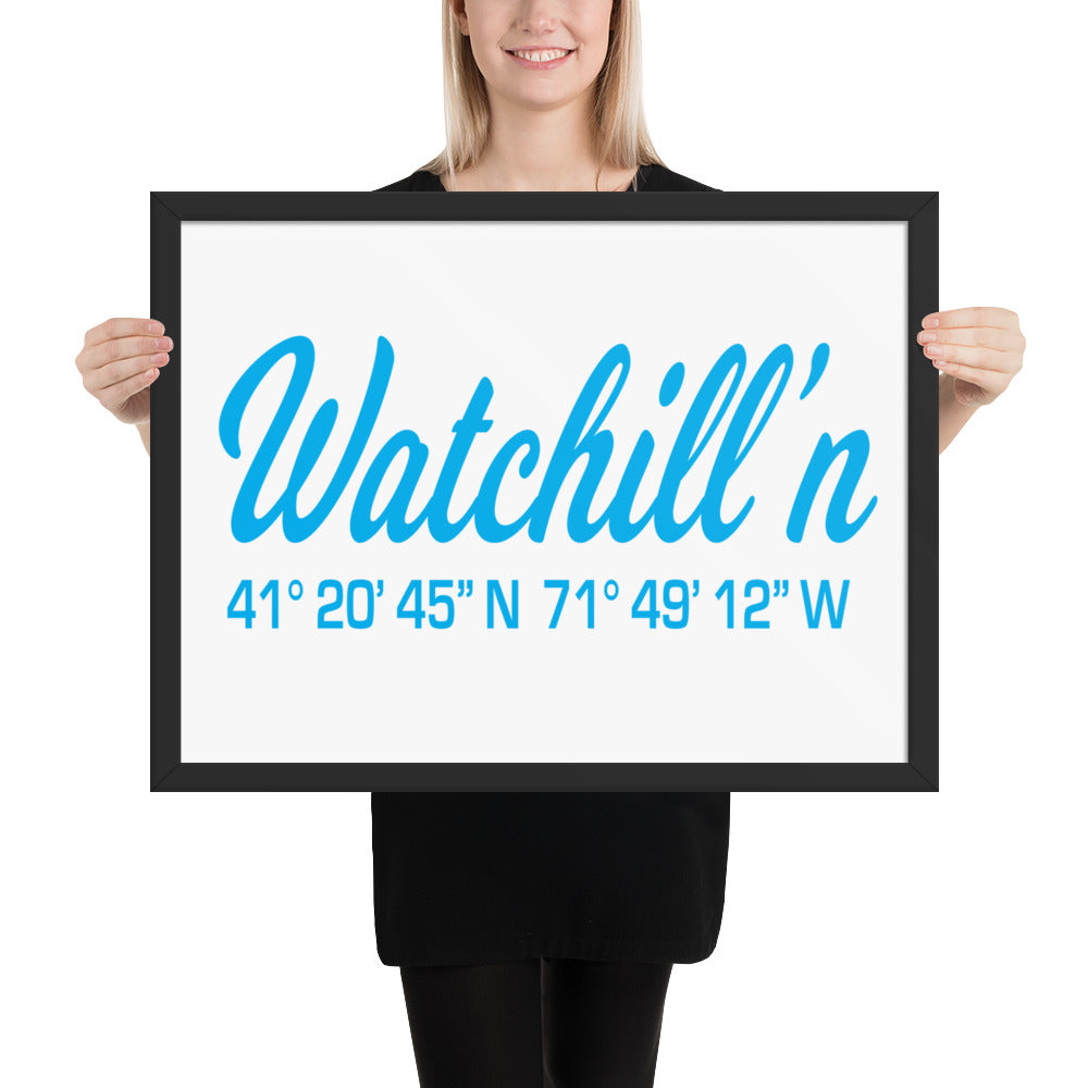 Watchill'n, Framed poster - Watch Hill RI t-shirts with vintage surfing and motorcycle designs.