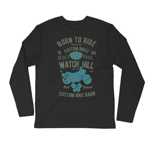 Watchill'n 'Born To Ride' Premium Long Sleeve Fitted Crew (Olive/Blue) - Watchill'n
