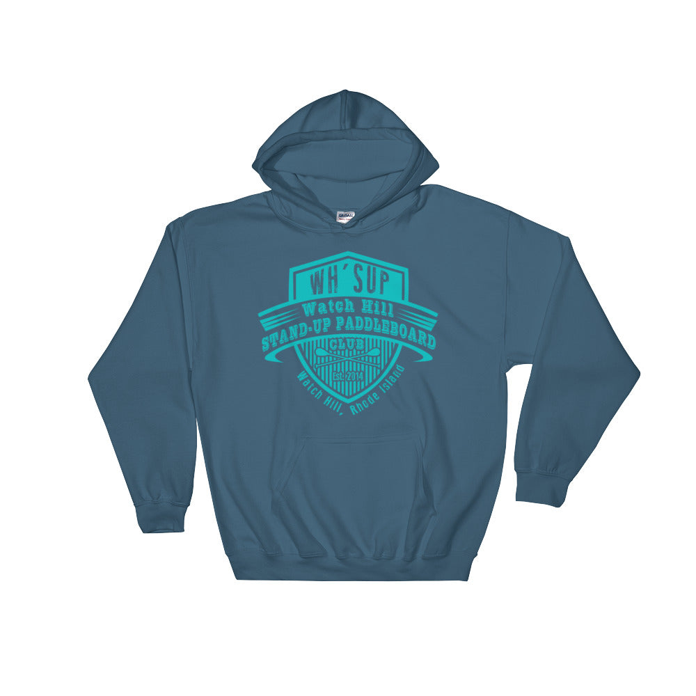 Watchill'n 'Paddle Board Club' - Hoodie (Turquoise) - Watch Hill RI t-shirts with vintage surfing and motorcycle designs.