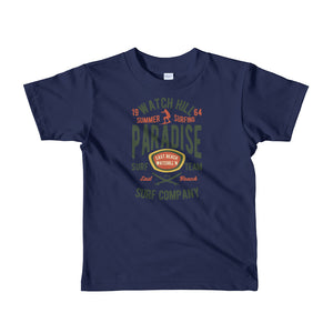 Watchill'n 'Summer Surfing' - Short sleeve kids t-shirt (Green/Terracotta) - Watch Hill RI t-shirts with vintage surfing and motorcycle designs.