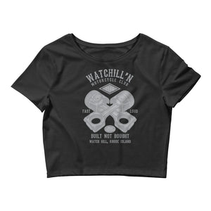 Watchill'n 'Built Not Bought' - Women's Crop Tee (Grey) - Watch Hill RI t-shirts with vintage surfing and motorcycle designs.