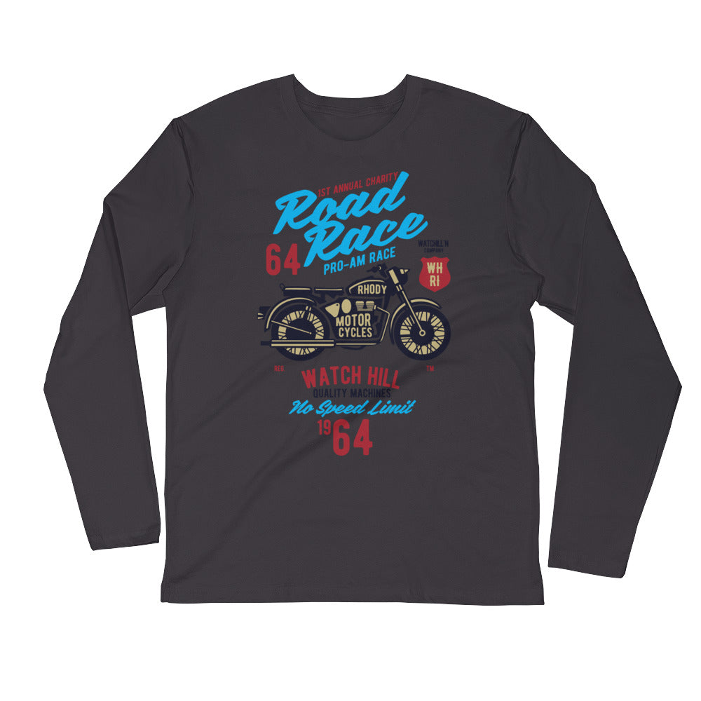 Watchill'n 'Road Race' Premium Long Sleeve Fitted Crew (Blue/Maroon) - Watch Hill RI t-shirts with vintage surfing and motorcycle designs.