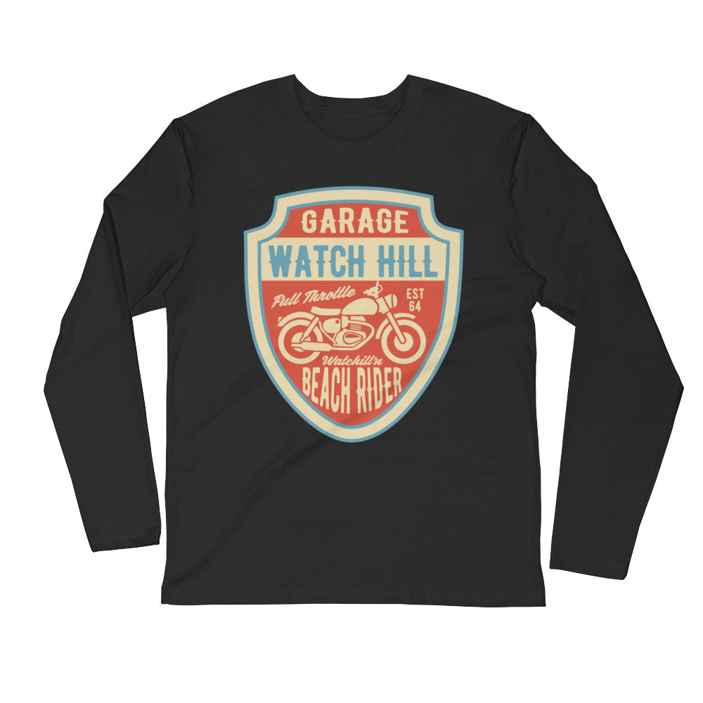 Watchill'n 'Beach Rider' Premium Long Sleeve Fitted Crew (Rust/Creme) - Watchill'n