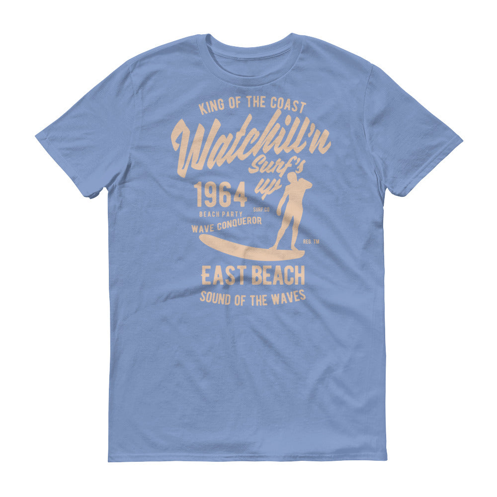 Watchill'n 'Surf's Up' - Short-Sleeve Unisex T-Shirt (Khaki) - Watch Hill RI t-shirts with vintage surfing and motorcycle designs.