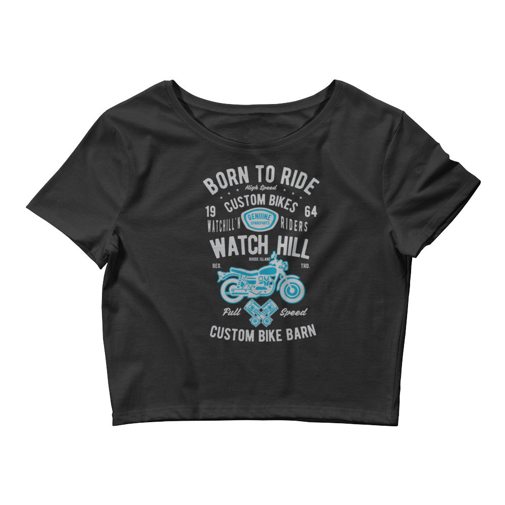 Watchill'n 'Born to Ride' - Women's Crop Tee (Grey/Cyan) - Watch Hill RI t-shirts with vintage surfing and motorcycle designs.