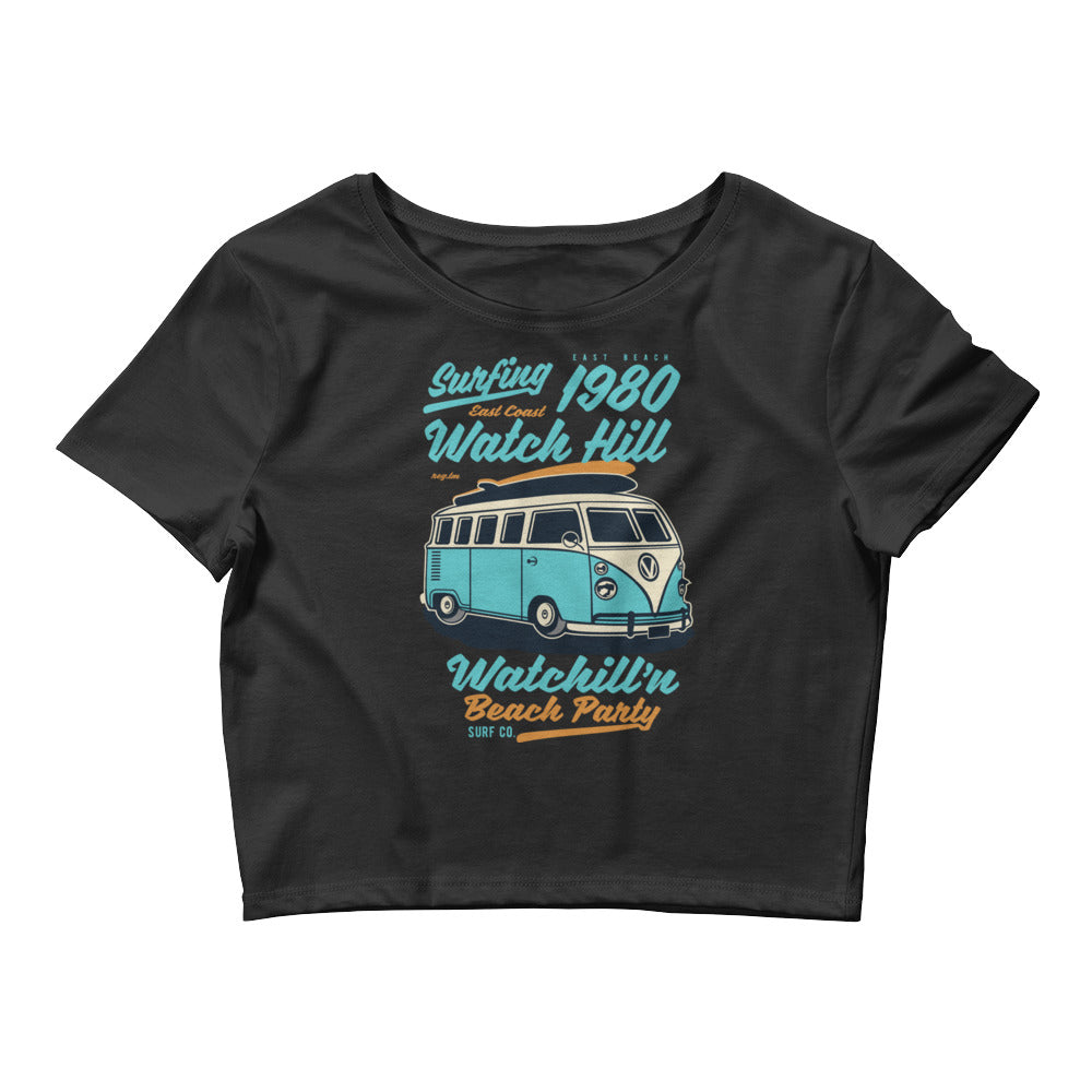 Watchill'n 'Beach Party' - Women's Crop Tee (Turquoise) - Watch Hill RI t-shirts with vintage surfing and motorcycle designs.