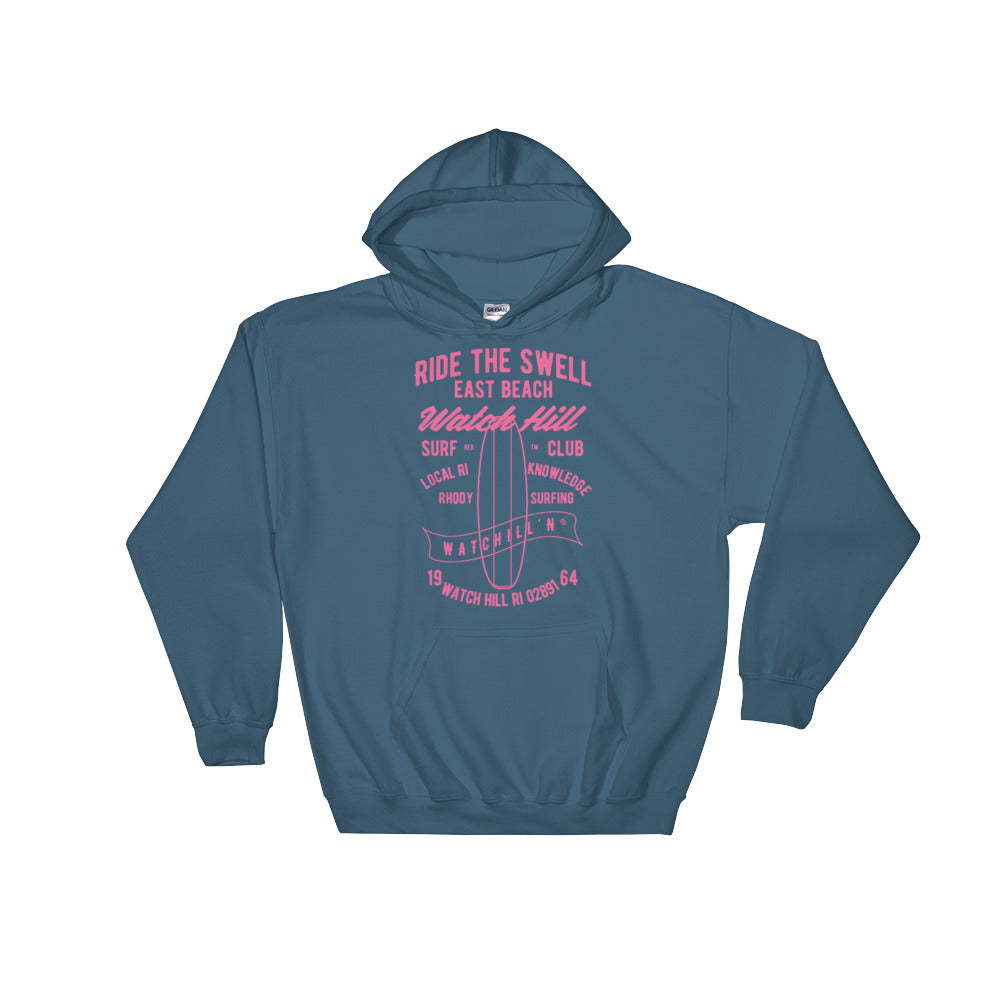 Watchill'n 'Ride the Swell' - Hoodie (Pink) - Watch Hill RI t-shirts with vintage surfing and motorcycle designs.