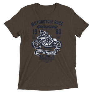 Watchill'n 'Speedway' Unisex Short sleeve t-shirt (Navy) - Watch Hill RI t-shirts with vintage surfing and motorcycle designs.