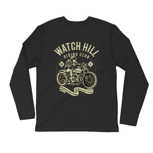 Watchill'n 'Racing Club' Premium Long Sleeve Fitted Crew (Tan) - Watch Hill RI t-shirts with vintage surfing and motorcycle designs.