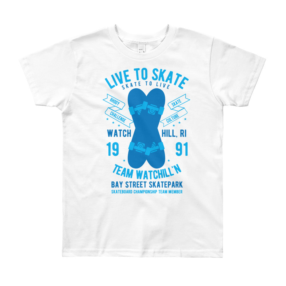 Watchill'n 'Live to Skate' - Youth Short Sleeve T-Shirt (Blue) - Watchill'n