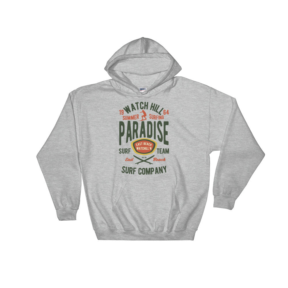 Watchill'n 'Summer Surfing' - Hoodie (Green/Terracotta) - Watch Hill RI t-shirts with vintage surfing and motorcycle designs.