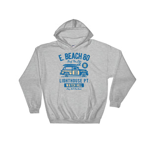 Watchill'n 'Beach Buggy' - Hoodie (Blue) - Watch Hill RI t-shirts with vintage surfing and motorcycle designs.
