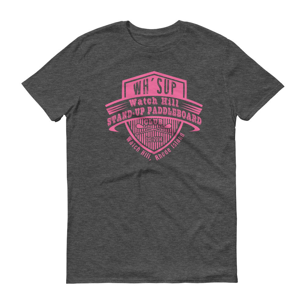 Watchill'n 'Paddle Board Club' - Short-Sleeve Unisex T-Shirt (Pink) - Watch Hill RI t-shirts with vintage surfing and motorcycle designs.