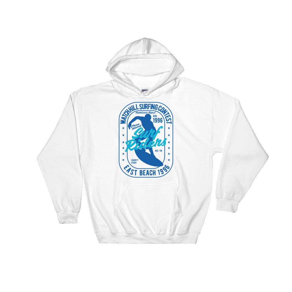 Watchill'n 'Surf Rider' - Hoodie (Blue) - Watch Hill RI t-shirts with vintage surfing and motorcycle designs.