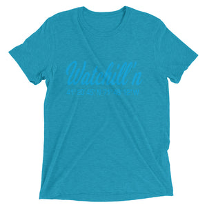 Watchill'n 'Coordinates' Logo Premium Unisex Short Sleeve T-shirt (Cyan) - Watchill'n