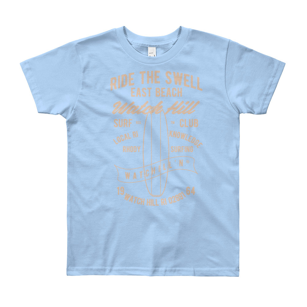 Watchill'n 'Ride the Swell' - Youth Short Sleeve T-Shirt (Khaki) - Watch Hill RI t-shirts with vintage surfing and motorcycle designs.