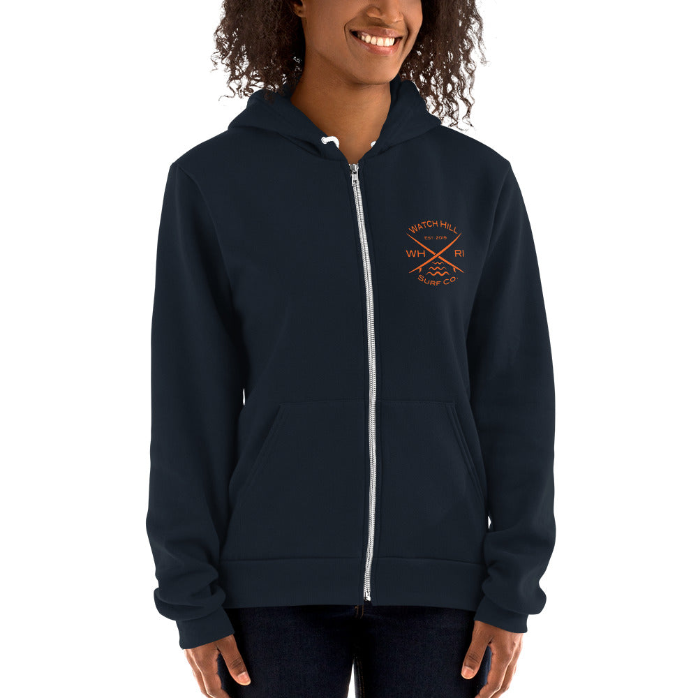 Watch Hill 'Surf Co.' Premium Hoodie sweater (Orange) - Watch Hill RI t-shirts with vintage surfing and motorcycle designs.